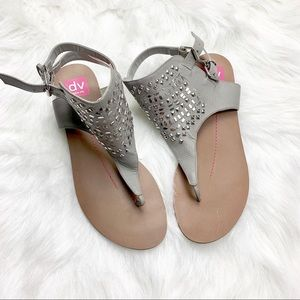 Dolce Vita Grey Ankle Buckle Sandals